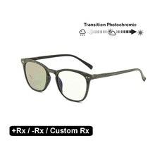 Geçiş fotokromik optik gözlük miyopi hipermetrop Rx + Rx özel mukavemet okuma gözlüğü Retro Nerd UV400 güneş gözlüğü