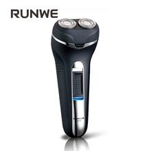 RUNWE Black Men Shaving Beard Razor Dual-track Rotary Floating Elegant Electric Shavers With Pop-up Trimmer Rs856 Washable heads