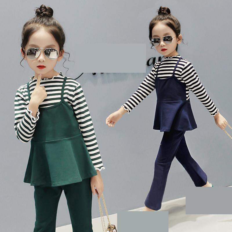 2018 New Girls Suit Cotton Teenage Children Clothes Spring Kids Set School Uniform For Girls Striped T-shirts + Vest + Pants 14 2018 new girls clothes set summer baby girls clothes vest pants children suit for kids girls clothing suit