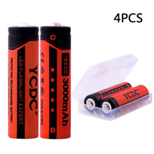 YCDC 4pcs 18650 Li-Ion rechargeable battery 3.7 volt 3000mAh batteries with 18650 battery holder for flashlight,cameras,toys