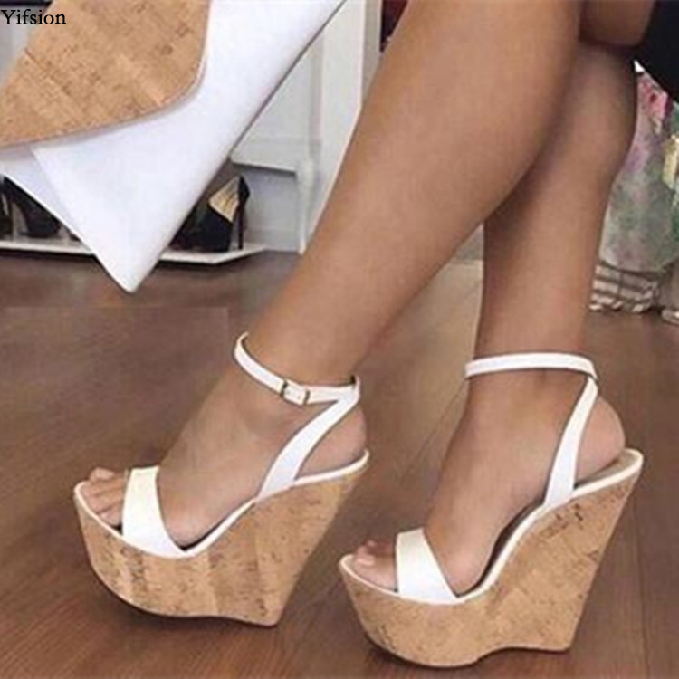 Olomm New Fashion Women Platform Sandals Sexy Wedges High Heels Sandals Open Toe White Casual Shoes