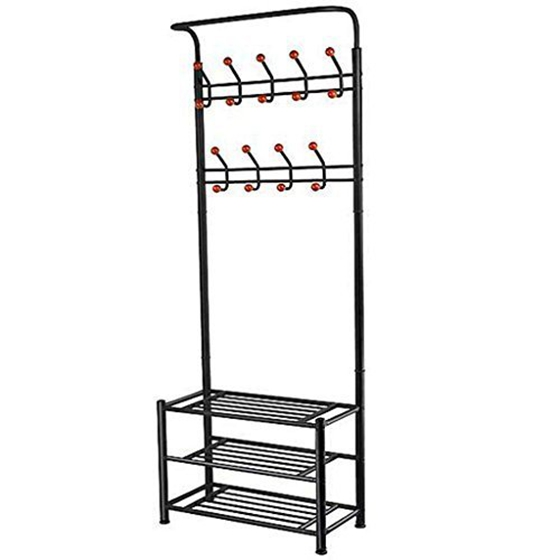 18 Hooks Metal Clothes/Hat Hanger Tree Hall Stand Coats Rack/Stand With Shoes Storage Shelves (Black)