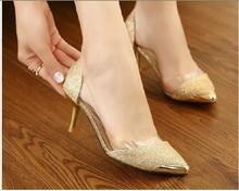 2014 New Chic Metal Pointed/Closed Toe Transparent Shiny Pointed high-heeled shoes,Women's Single Shoes
