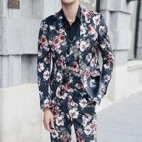 5XL Костюмы с цветочным принтом Мужские костюмы с брюками пальто последний Дизайнерский Костюм Homme мужские костюмы Slim Fit платье для дискотеки
