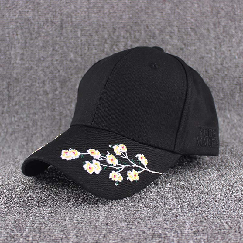 2019 hot sales fashion cap women black pink baseball flowers white caps embroidery flower