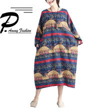 Lagenlook Cotton   Linen Mid-Long Aztec Print Jumper Dress 2017 Womens  Ladies Plus Size Long Sleeve voguees new Baggy Tunic 6cbe58dc4203