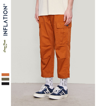 INFLATION Male Jogger Casual Plus Size Cotton Trousers Multi Pocket Military Style Loose Fit Ankle-length Cargo Pants 8403S - discount item  55% OFF Pants