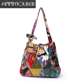Women Shoulder Bag Cotton Fabric Handbags Adjustable Patchwork Hippie Bag Large Capacity Hobo Gypsy Bag
