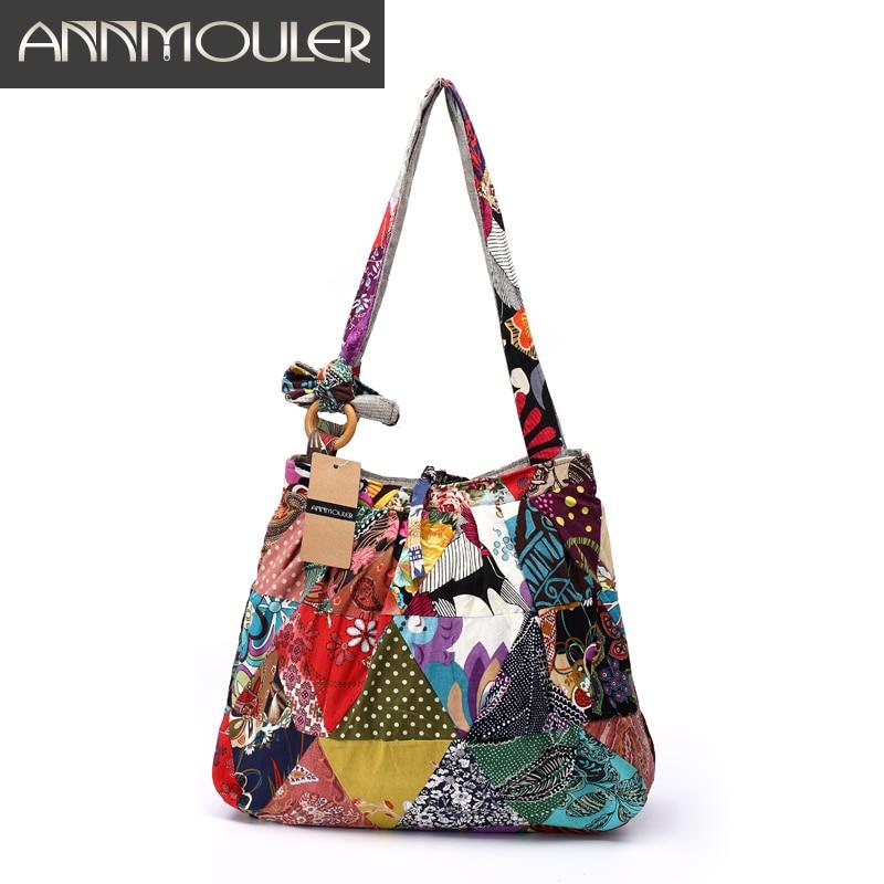 Annmouler Brand Women Shoulder Bag Cotton Fabric Handbags Adjustable Patchwork Hippie Bag Large Capacity Hobo Gypsy Bag