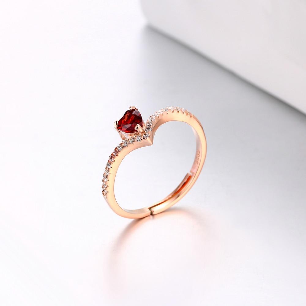 MoBuy MBRI003 Love Heart Rød Garnet Justerbar Ring 925 Sterling - Smykker - Foto 5