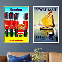 Royal Mail London Inglaterra lienzo de viaje pintura pared vintage Kraft carteles recubiertos pegatinas de pared imágenes decorativas para casa regalo