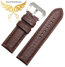 Free Shipping 22mm 24mm 26mm New Mens Brown Genuine Alligator Leather Watch Strap Band For Brand