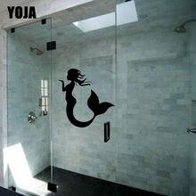 Yoja 24 × 25センチメートルかわいい人魚おかしい浴室のガラスの壁ステッカーG2-0016