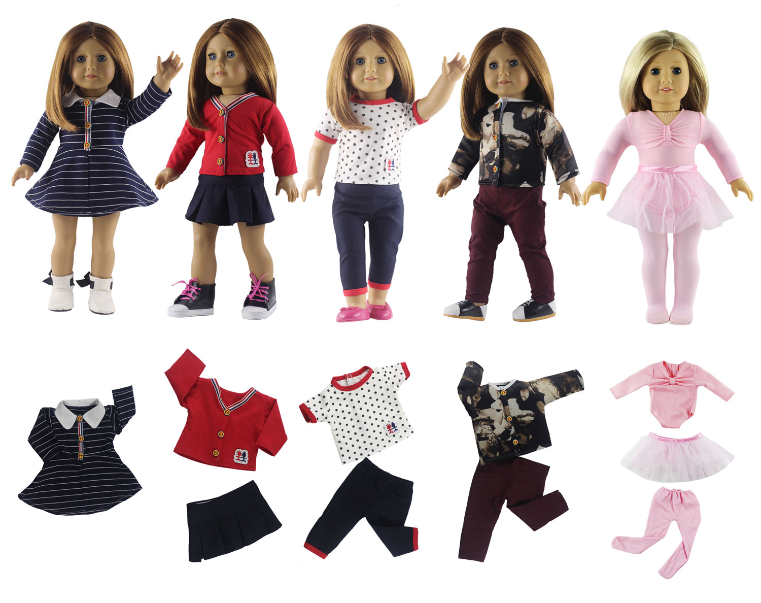Hot 5 Set Doll Clothes New Style For 18 39 39 American Girl Doll Princess Dress Ballet Skirt In