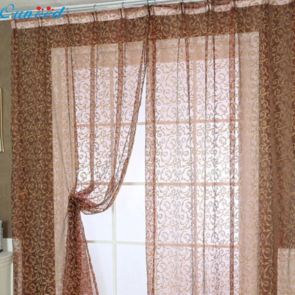 Happy home Modern Europe Home Decoration 2016  200x100cm Pteris Tulle Window Screens Door Balcony Curtain Panel Sheer Scarfs