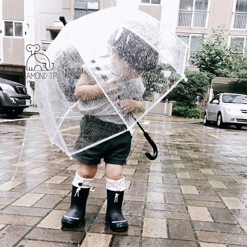 Apollo INS Children's Umbrella Baby Cute Street Shoot Kids Transparent Umbrella Color Point Poe Green UmbrellaS