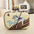 Freeship  pu leather New 2016  women fashion pony printing clutch mini evening bag/ girls cute chain shoulder bag messenger bags