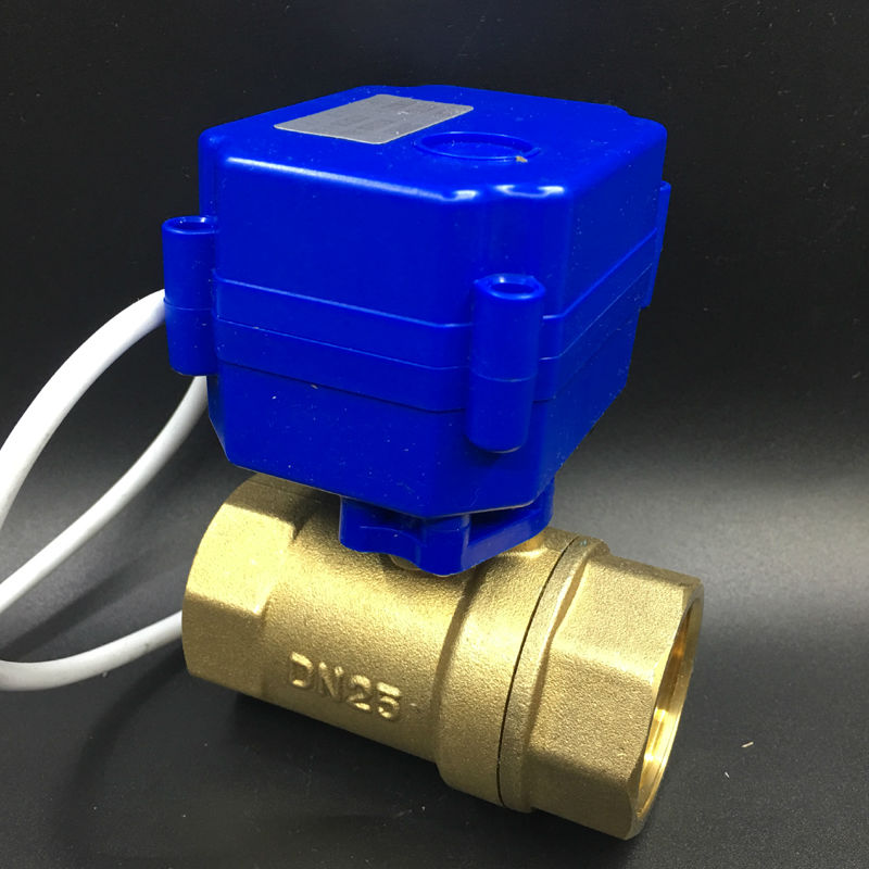Brass DN25 Electric Actuator Valve Two Port BSP 1'' Motorised Ball Valve DC12V 2/3/5 Wires For Fan Coil Heating Water System