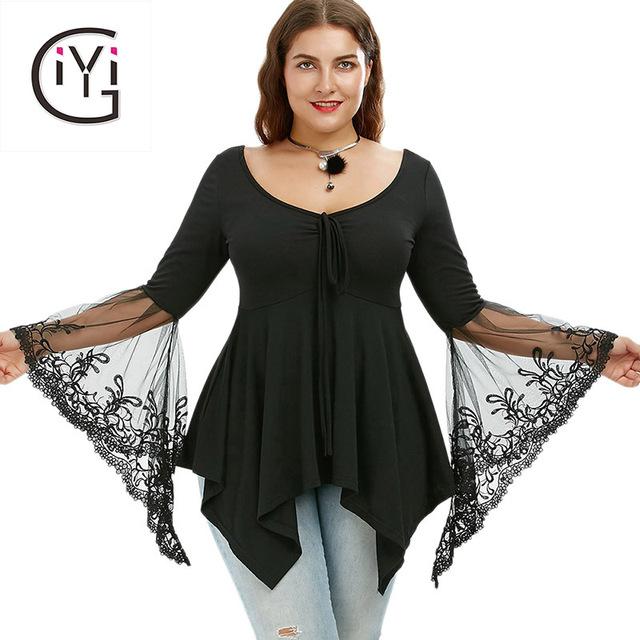 GIYI Plus Size 5XL Women Clothing Sexy Lace Bell Flare Sleeve Blouse Summer 2017 Black Tunic Peplum Top Elegant Blusas Big Size