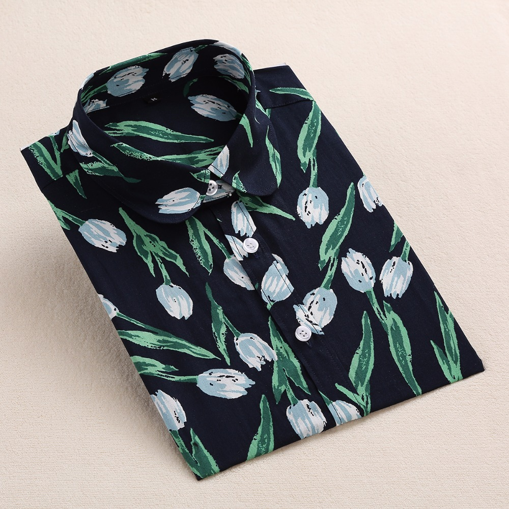 Dioufond Yaz Çiçek Bluz Gömlek Kadınlar Uzun Kollu Pamuk Gömlek - Bayan Giyimi - Fotoğraf 6