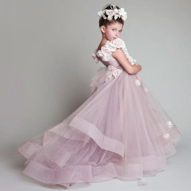 0774bc3adbc6 New Design Charming Children Flower Girl Dress Jewel Neck Tiered Kid ...