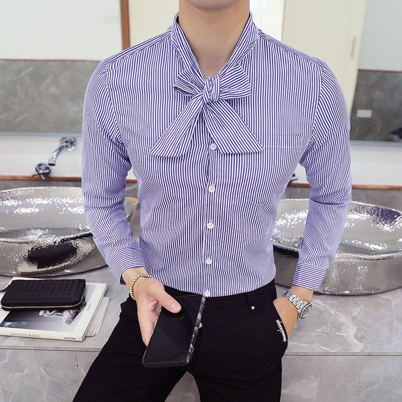 2018 Männer Der Bogen Slim Fit Lange-ärmeln Shirt Männlichen Streifen Große Größe Mode Heißer Verkauf Persönlichkeit Einfache Top Kleidung Outwear Grade Produkte Nach QualitäT