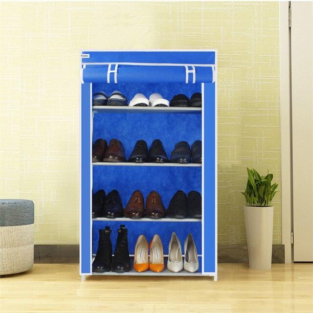 Finether 4 Tier Non Woven Fabric Portable Shoe Rack Shoe Cabinet Shoes  Organizer Storage