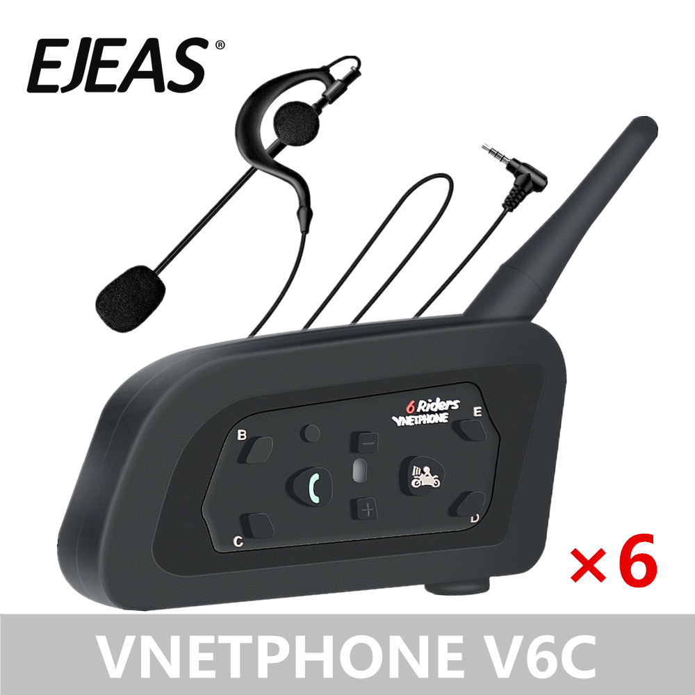 6 Packs EJEAS V6C Professional Football Referee Intercom Motorcycle Motorbike Full Duplex 1200M Wireless BT Intercom