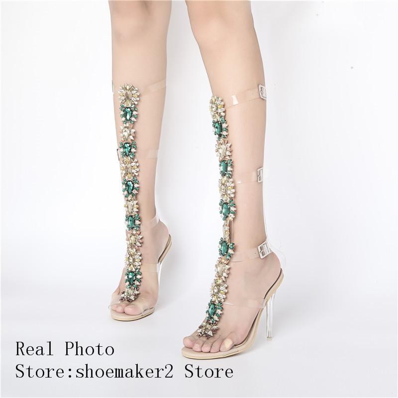 32f46d6412e6 2017 Sexy Pvc Transparent Gladiator Sandals Woman Open Toe T strap ...