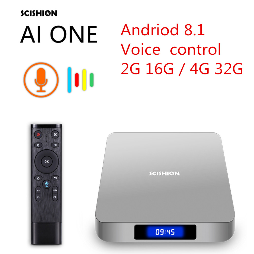 цены на SCISHION AI ONE Android 8.1 Smart TV Box RK 3328 TV Box 2GB/4GB 16GB/32GB 2.4G WiFi USB3.0 BT4.0 Set Top Box With Voice Control
