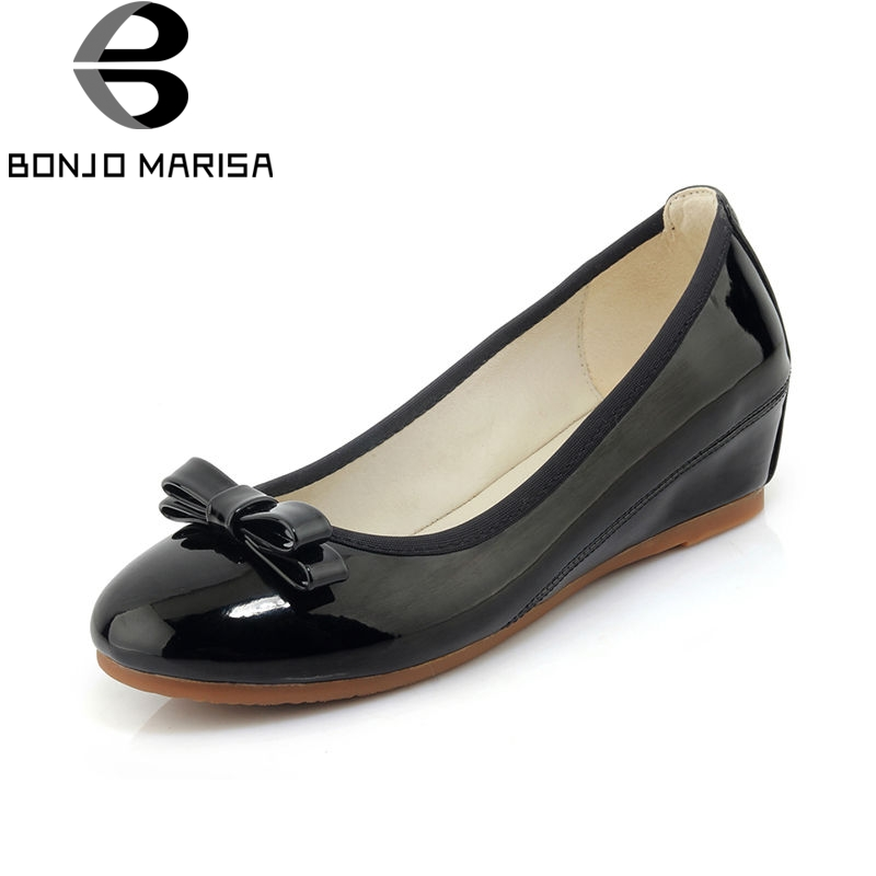 BONJOMARISA 2018 Summer Fashion Patent Leather Flats Women Wedges Bow Shoes Woman Comfortable Soft Women Casual Shoes Size 34-40 lanshulan bling glitters slippers 2017 summer flip flops platform shoes woman creepers slip on flats casual wedges gold