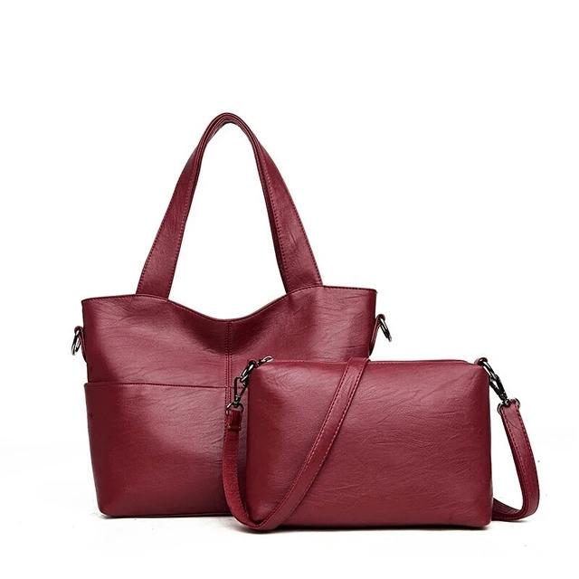 women handbag Pu Leather Women Shoulder Bags 2 sets Famous Designer  Pendant Women Messenger Bags Ladies Casual Tote Bags Sac