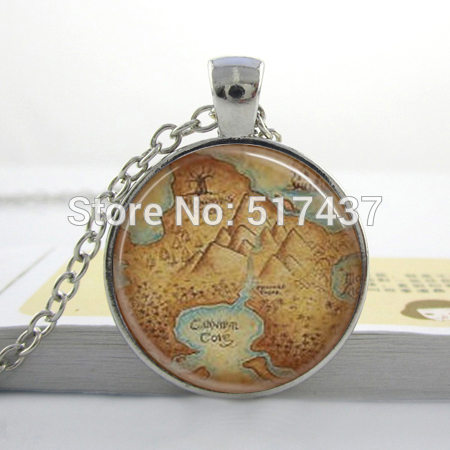 Wholesale Peter Pan Necklace NeverLand Map Jewelry Glass Art Picture Necklace Man Fashion Brozen Pendant Necklace