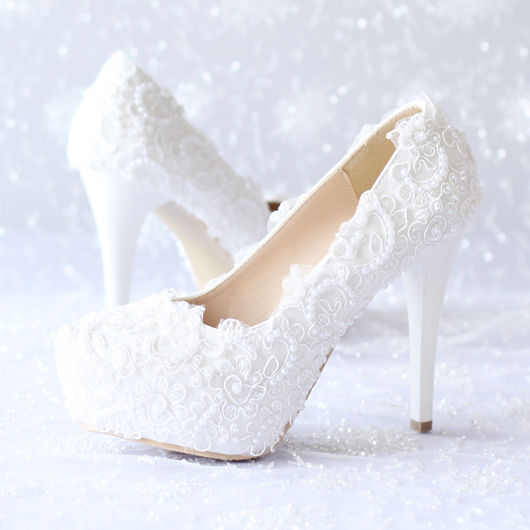 ФОТО 2016 Elegant White Lace Pearl Bride Shoes High Heels with Waterproof Taiwan Wedding Shoes Photography Stage Shows Women's Shoes