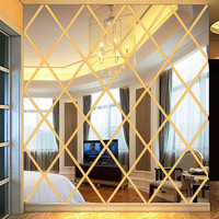 1pcs/set 50*50cm DIY LOVE 3D Stickers Acrylic Gold Mirror Large Wall Stickers Decal Decoration Livingroom Home Decor Wholesale