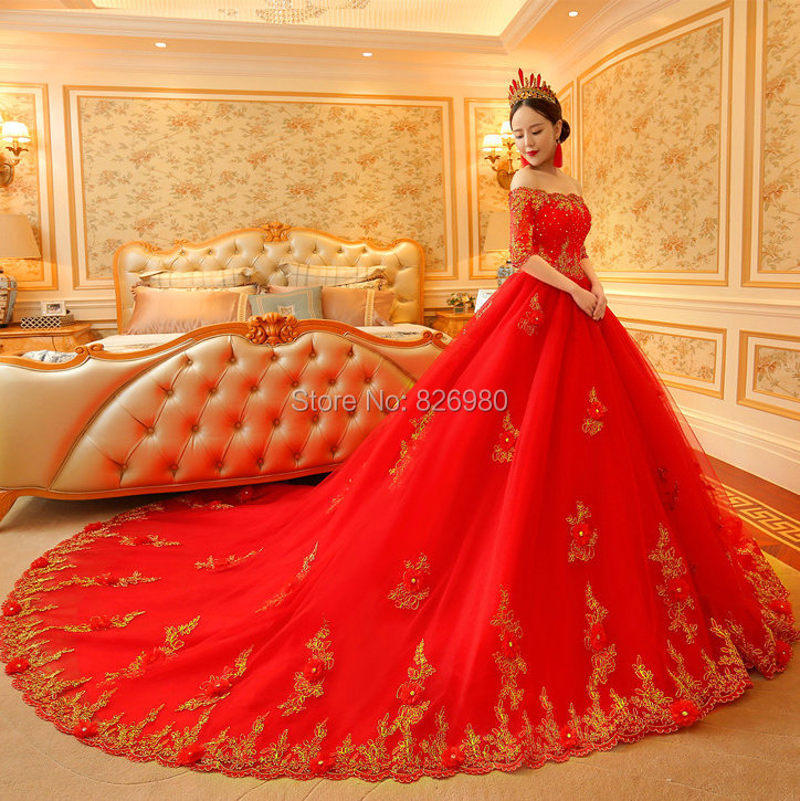 Real Photo Gold And Red Wedding Dresses 2017 Robe De Mariage Bateau Neck Half Sleeve Long