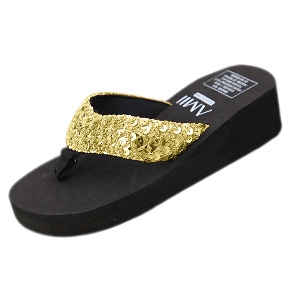 New slippers female slippers wedges platform elevator slip-resistant paillette beach flip flops US size 5 black
