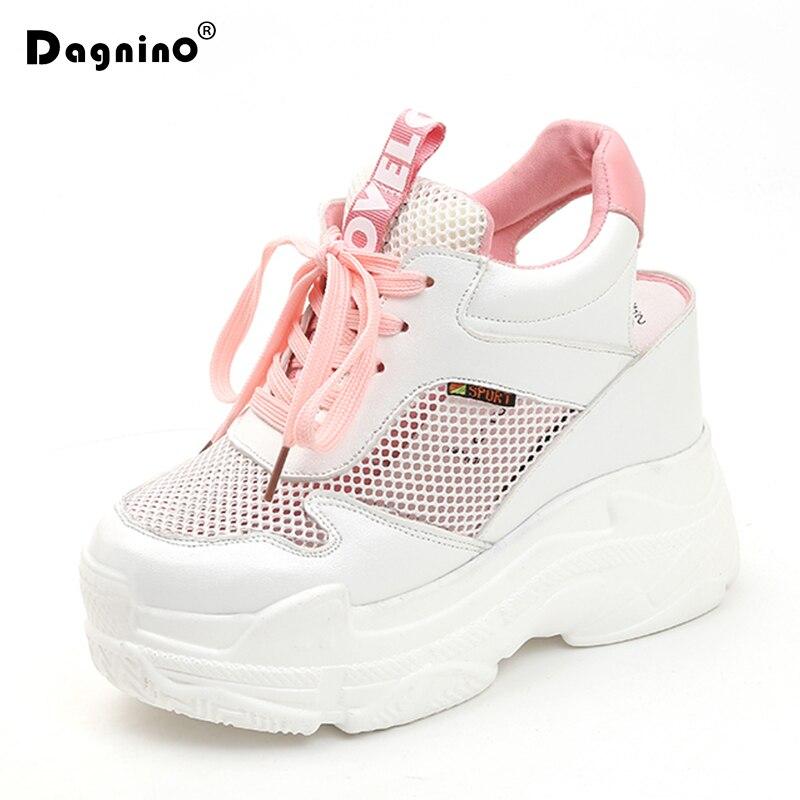 DAGNINO Casual Shoes Women's Flats Mesh Breathable Platform Wedge Heels Shoes 11cm Summer Sneakers Zapatillas Deportivas Mujer