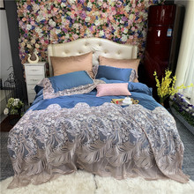 New Blue Luxury Romantic Lace Royal Palace Bedding Set Silk Cotton Duvet Cover 100S Egyptian cotton Bed Sheet Pillowcases 4pcs
