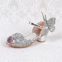 Heel Sandals For Girls Kids High heels for Baby girl Enfant leather sandals shoes girls flat Blue Pink