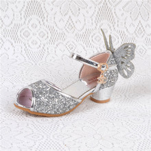 цена на Heel Sandals For Girls Kids High heels for Baby girl Enfant leather sandals shoes girls heels flat girl sandals Blue Pink