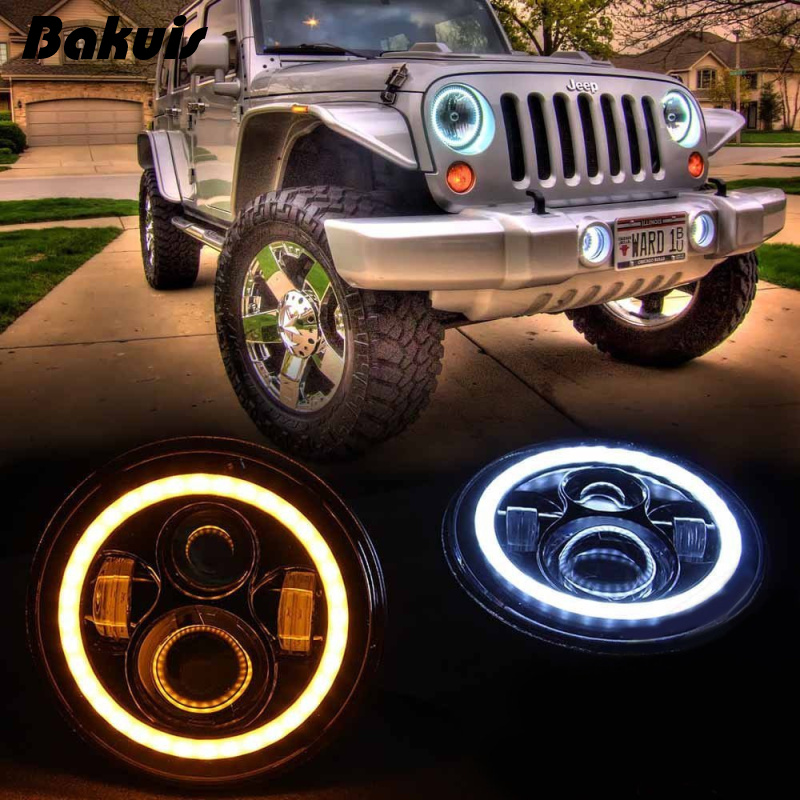 Pair JK Wrangler 7 Inch Round LED Headlight Halo Angel Eye / DRL LED Projection Lens For Harley Motorcycle LJ Tj FJ Jeep new 13 5 340mm motorcycle a pair air shocks absorber eye to eye gokart purple