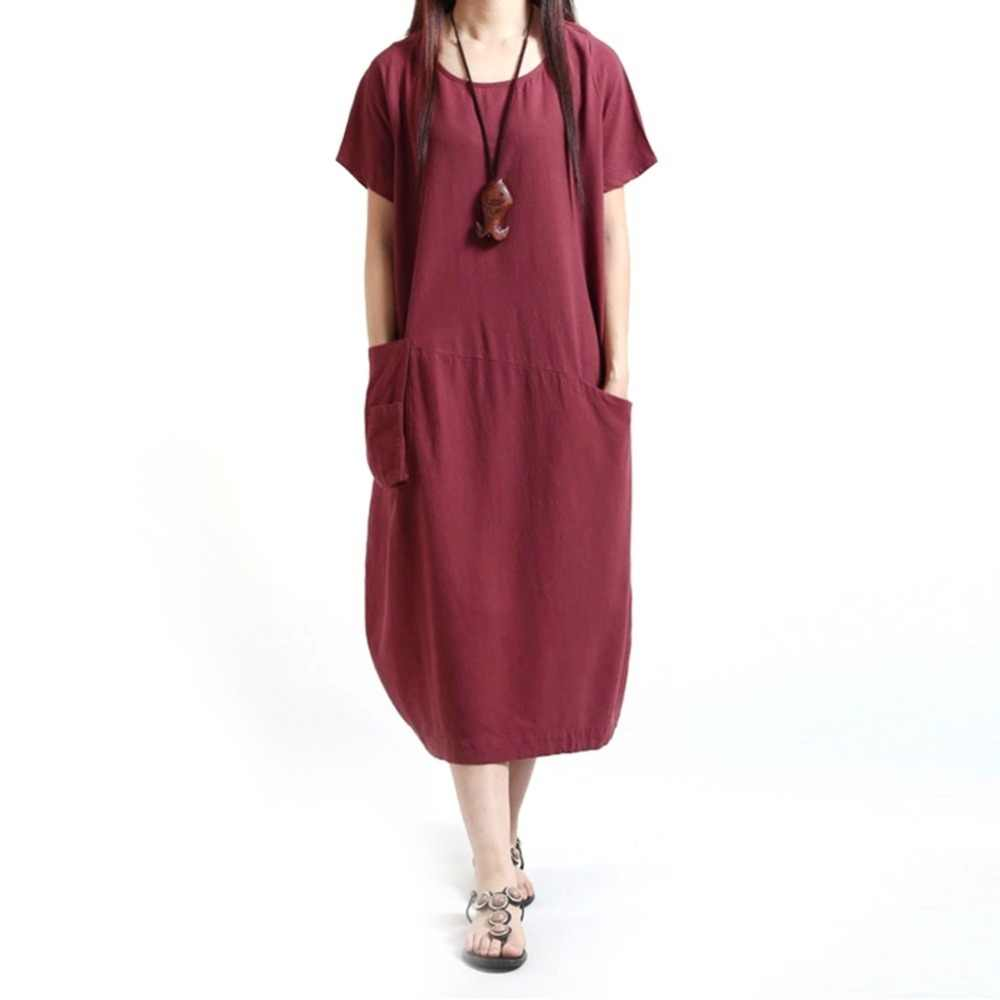 c0b041a6f99c 2018 New Women Cotton Linen Casual Loose Dress Female O Neck Short Sleeve  Dresses Vestidos 3