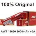 2 PCS Recarregável 18650 AWT Bateria Cigarros Eletrônicos 3000 Mah 40A Caixa de Bateria AA Para O E-Cigarros Vape Mod Vape Vaporizador 40A