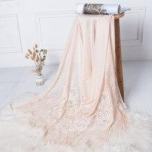 女性スカーフショールレースの花の房スカーフヒジャーブラップ printe 無地ショールヘッドバンドイスラム教徒 hijabs スカーフ/スカーフ 15 色