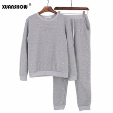 XUANSHOW 2018 Fashion Spring Autumn Women Set Pearl Beading Sweatshirt and Pant 2 PCS Long Sleeve Pullovers Womens Tracksuits