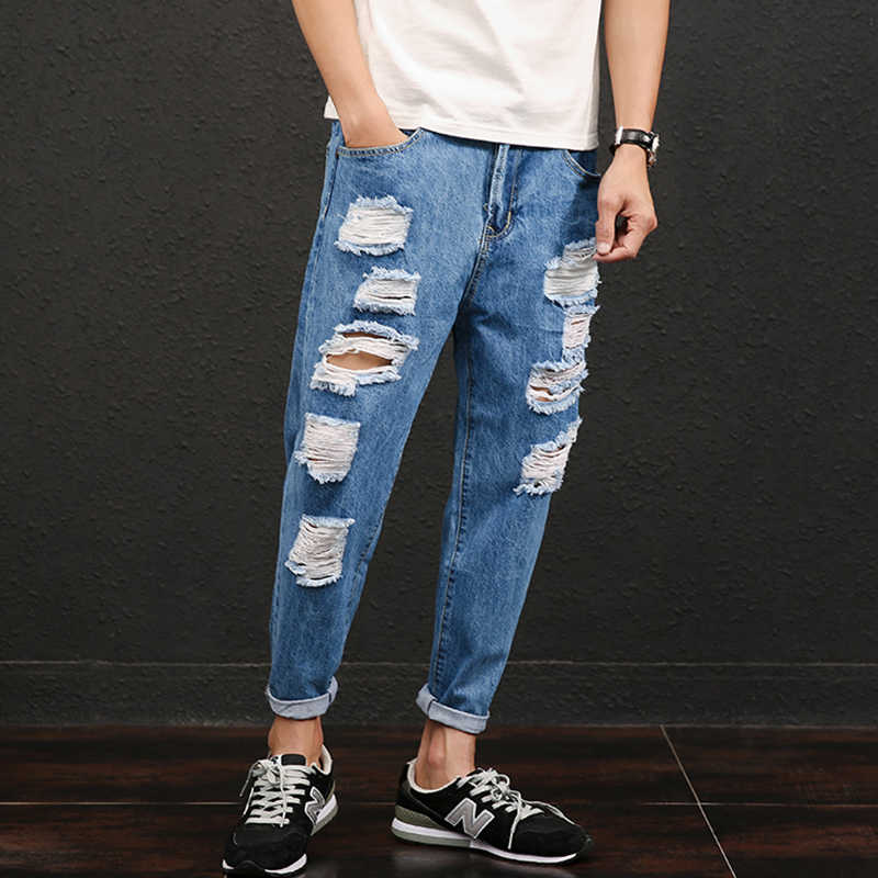 Мужские джинсы, Новые повседневные тонкие летние зауженные Синие рваные джинсы, Стрейчевые джинсовые брюки, Классические ковбойские штаны для молодых людей 28-42