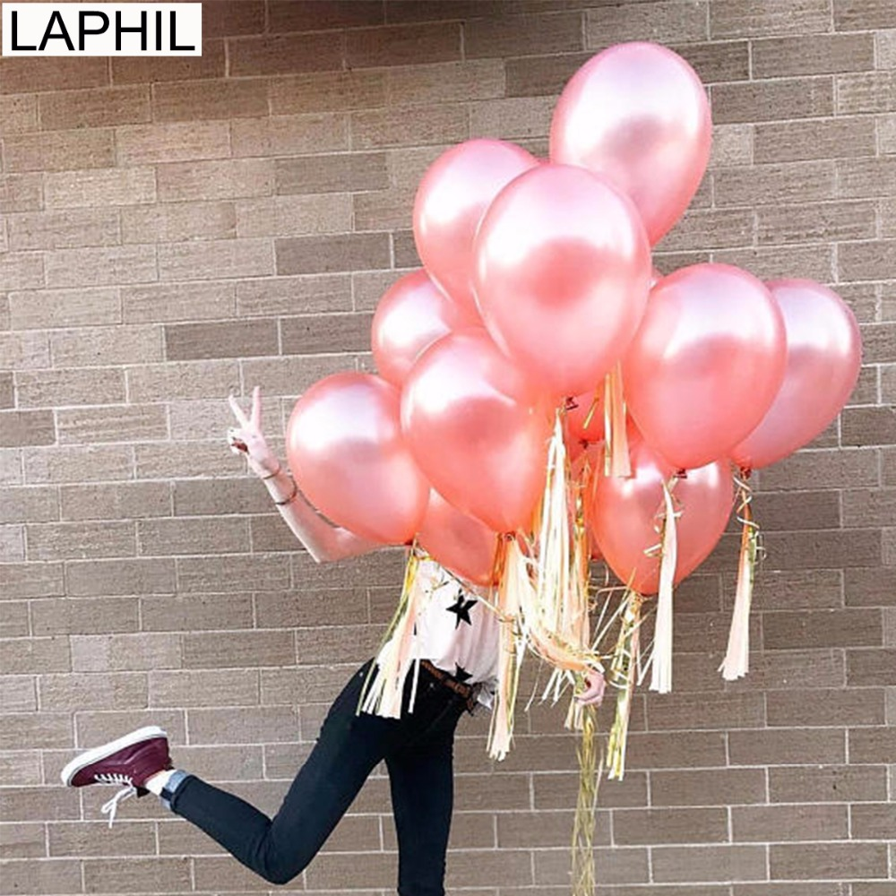 LAPHIL 10pcs 12inch Rose Gold Latex Balloons Wedding Decoration Blue Pink Latex Balloons Helium Birthday Party Decorations