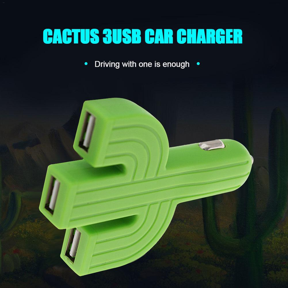 Universal Car Charger Cactus 3 USB Port Mini Car-Charger For Mobile Phone For IPhone Xs Max XR <font><b>X</b></font> <font><b>8</b></font> 7 6 IPad For Xiaomi Samsung image