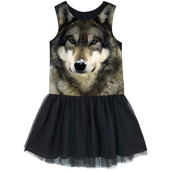 Girls Tulle dress  Kids Ballerina Ballet Dance Party Yarn best dress Clothes Children The nice Wolf dresses baby  dresses nice ropa interior de encaje negra